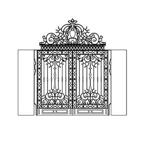 3D model classic gate main door