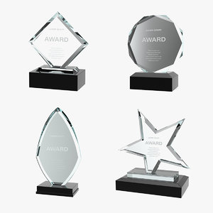 glass award trophys 2 3D
