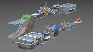 3D water treatment plant model