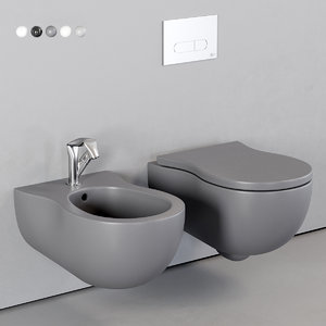 pinch wall-hung toilet bidet 3D model