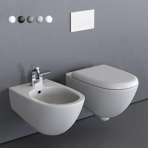 3D spin wall-hung toilet bidet