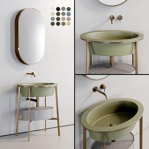 3D washbasin catino ovale mirror