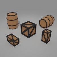 Low-Poly Boxes and Barrel Pack