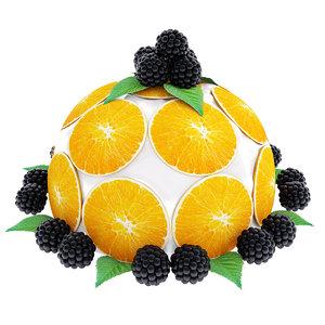 3D orange cake model