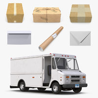 Post Office Truck with Mail Packages Collection
