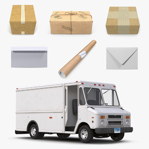 post office truck mail model