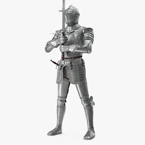 3D polished medieval knight plate armor model