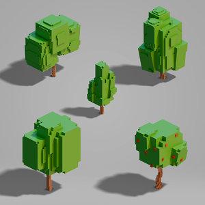 3D set trees blocky model