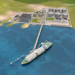 3D seaport tanker ship