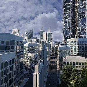 3D model city trees skyscrapers