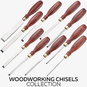 3D woodworking chisels model