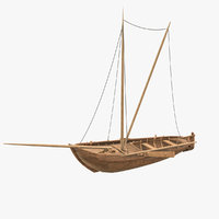 Old Sailing Boat Low-poly PBR