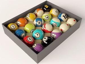 set pool billiard balls 3D
