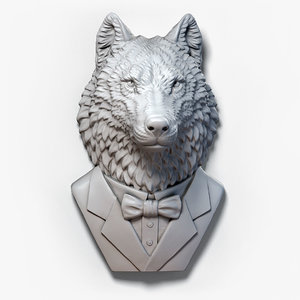 3D wolf suit sculpture model