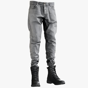 realistic gray jeans boots model