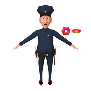policeman cartoon 3D model