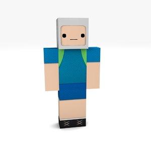 3D minecraft boy 1 rigged