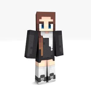 3D minecraft girl rigged