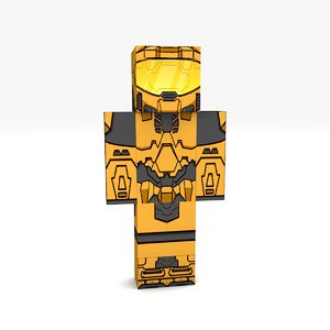 minecraft robot rigged 3D