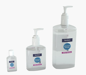 3D 3 pack sanitizer bottle