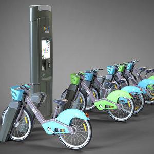 3D velib metropole public bicycle model