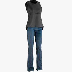 realistic womens jeans vest model
