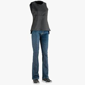 3D realistic womens jeans vest