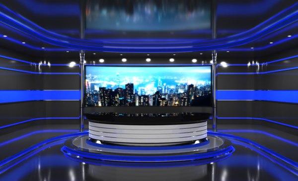 3D virtual studio tv model