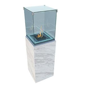 3D model exterior fireplace