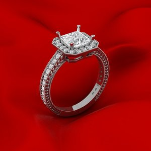3D model luxury princess ring