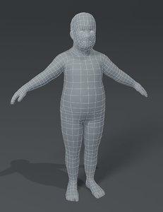fat boy kid child 3D model