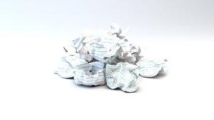 crushed paper balls 3D model