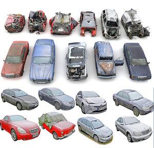 3D car apocalypse wreck pack