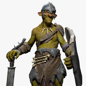 goblin fighter character 3D model