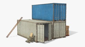 3D model scene industrial cargo containers