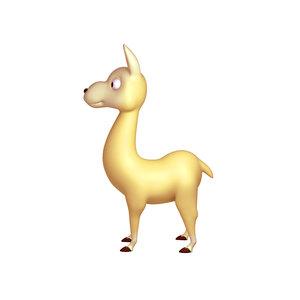 llama cartoon 3D model