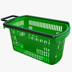 realistic shopping basket color 3D model