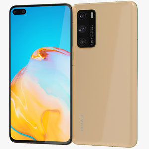 3D realistic huawei p40 gold