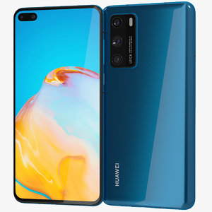 3D realistic huawei p40 blue model