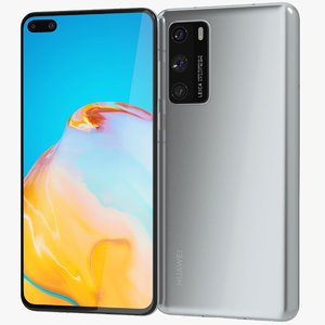 3D realistic huawei p40 silver model