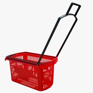realistic shopping basket rigged 3D model