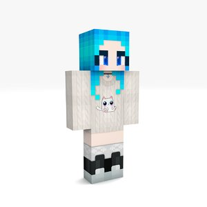 minecraft kira girl rigged 3D model
