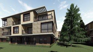 3D model modern villa building architecture