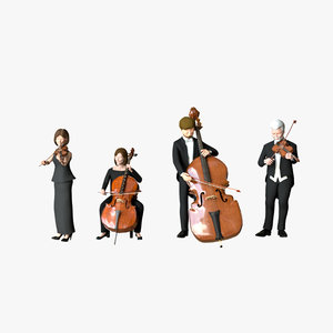 3D model man contrabass woman