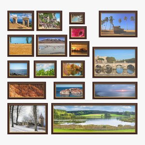 3D realistic wall picture frames
