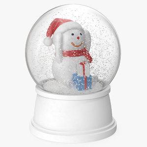 3D snow globe snowman 6 model