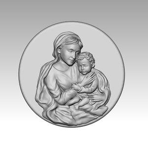 3D model virgin mary child