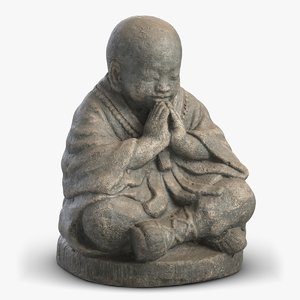 3D monk sculpture 3