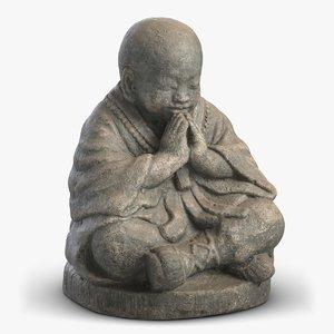 3D monk sculpture 3