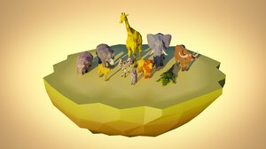 low-poly animal pack african model